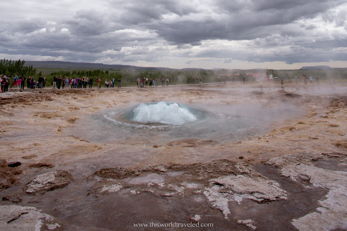 The boiling pool of the geyser water spout in Iceland's Golden Circle