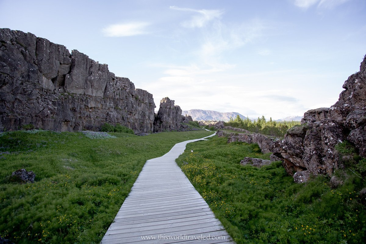 The path in Thingvellir National Park that leads to the Oxarafoss waterfall in Iceland