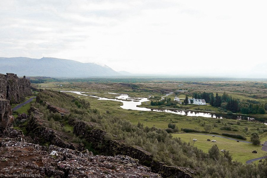 View of the tectonic plates and visitors center at Thingvellir National Park in Iceland's Golden Circle