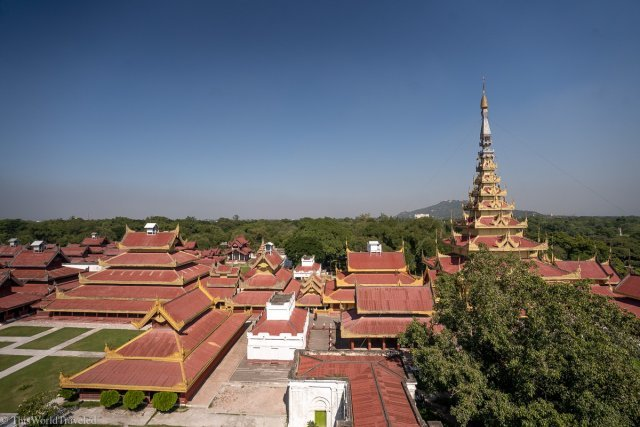 View of Mandalay Palace from the watchtower that is on the grounds.