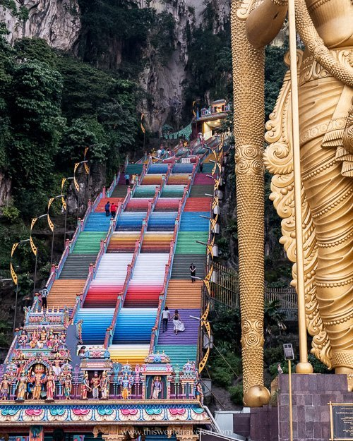 There are 272 steps that lead to the temple at the Batu Caves in Malaysia