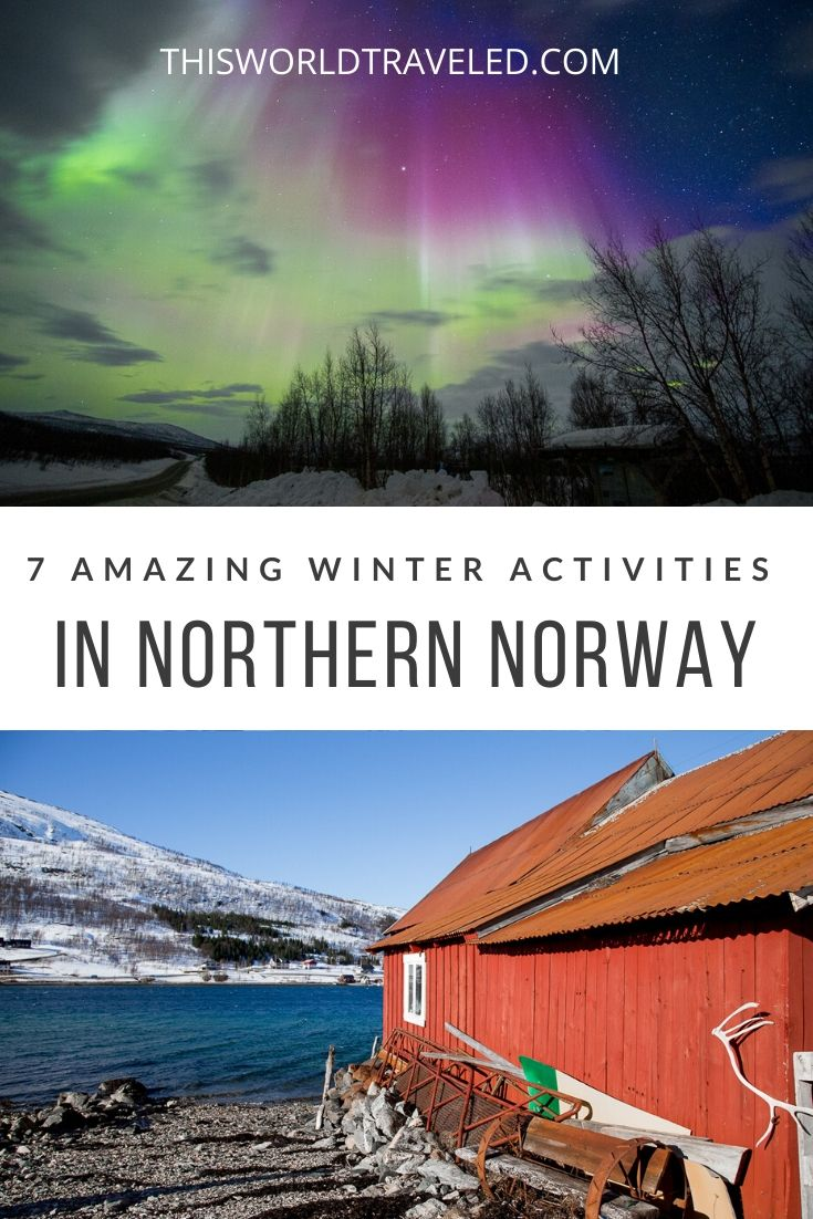 Pinterest board cover of northern lights and fjords in Norway