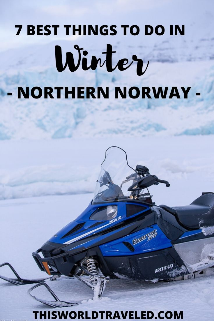A snowmobile at the iced over fjords in Svalbard, Norway