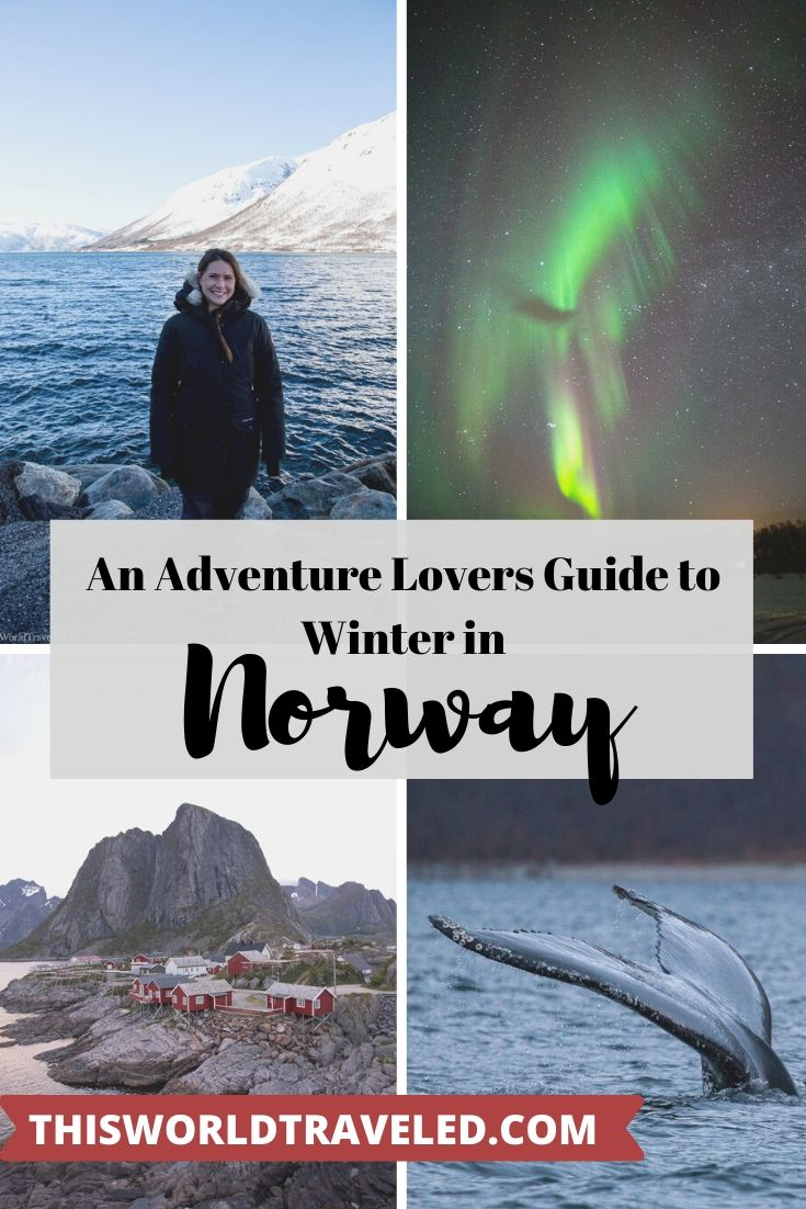 Pinterest board cover to an adventure lovers guide to winter in northern Norway