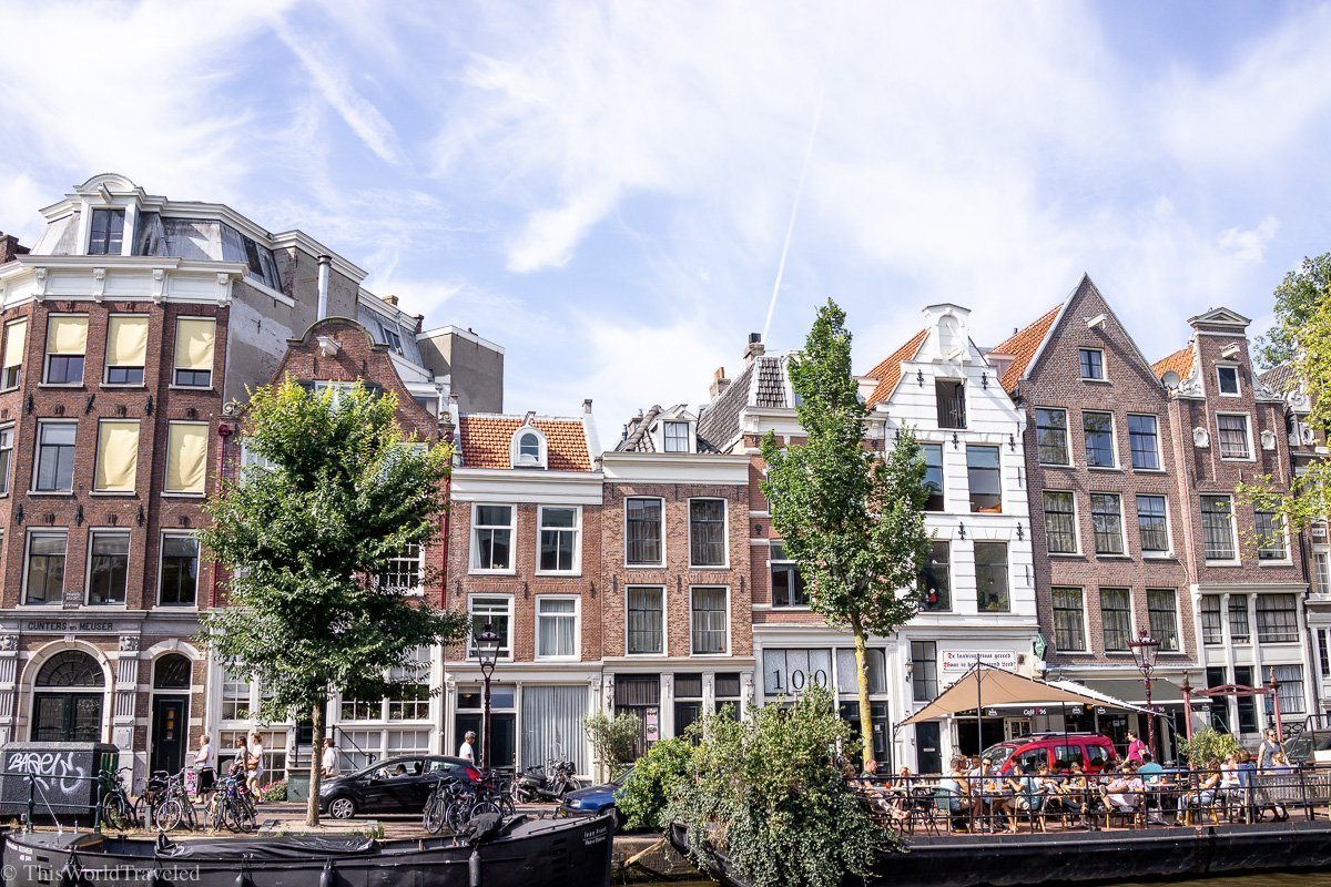 The row houses on the canal in Amsterdam in the Netherlands