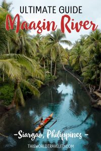 """Picturesof the Maasin River palm tree swing on Siargao Island in the Philippines with text that says """"The Ultimate Guide to the Maasin River, Siargao, Philippines"""""""
