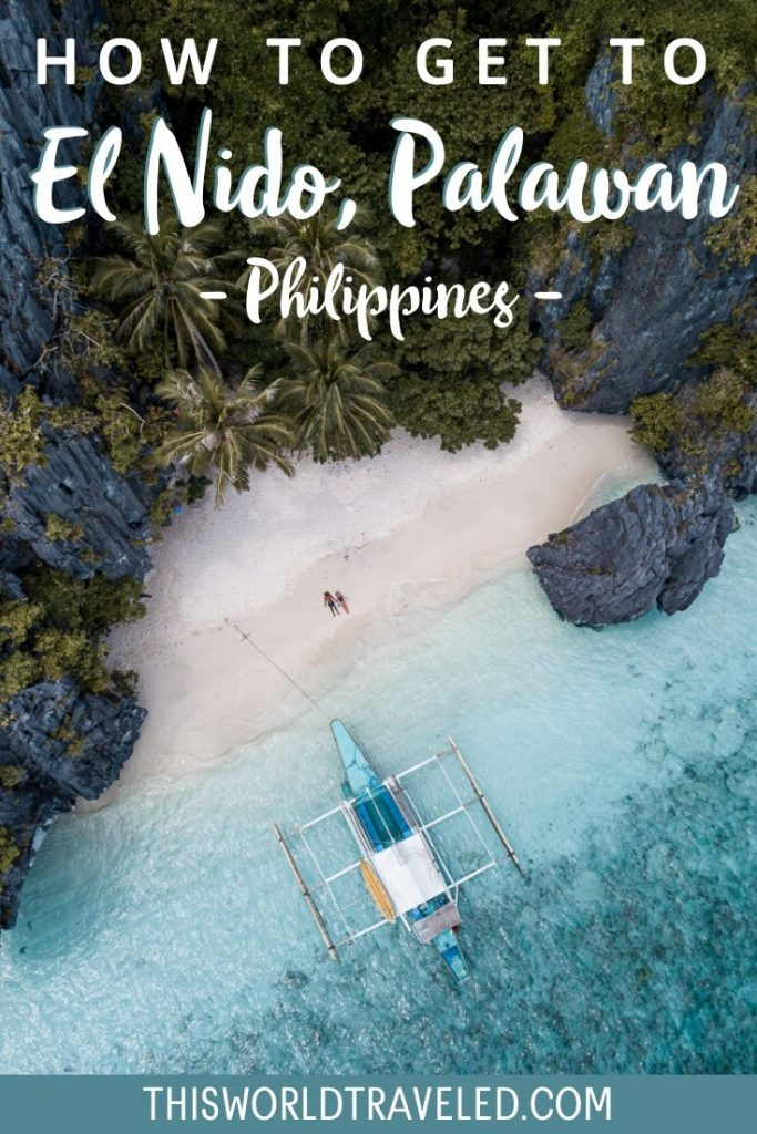 Drone view of Entalula Island in El Nido in the Philippines.