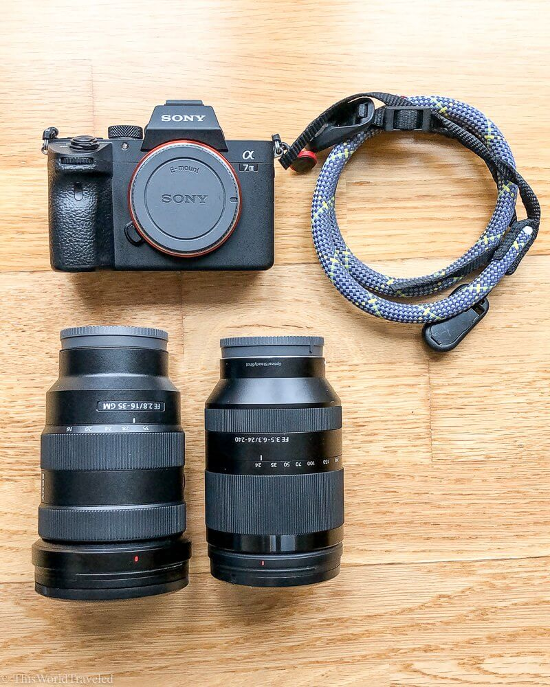 Sony A7III and 2 lenses plus the colorful Topo Designs Camera strap