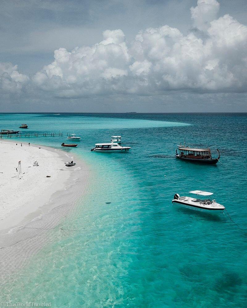 Drone shot of Fulidhoo island in the Maldives