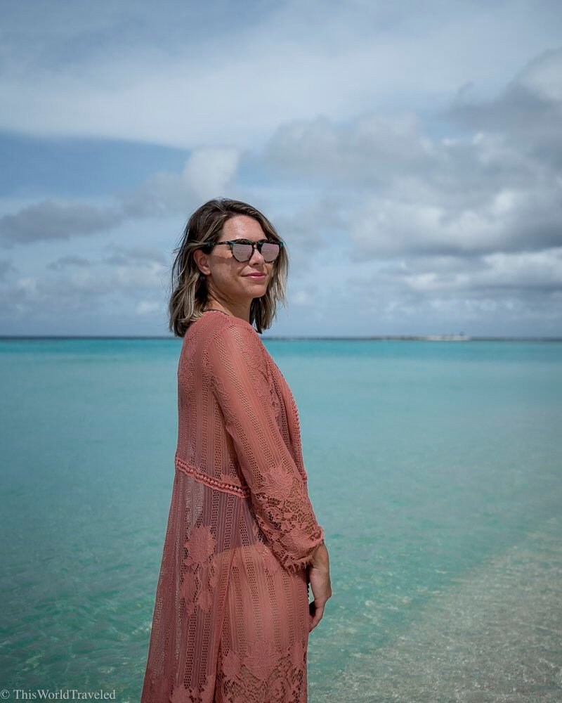 Girl at the beach in the Maldives