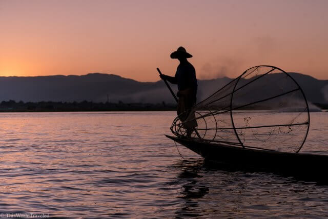 Fisherman on Inle Lake in Myanmar with his fishing net