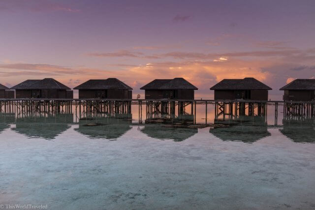 Over the water bungalows at Lily Beach Resort and Spa in the Maldives