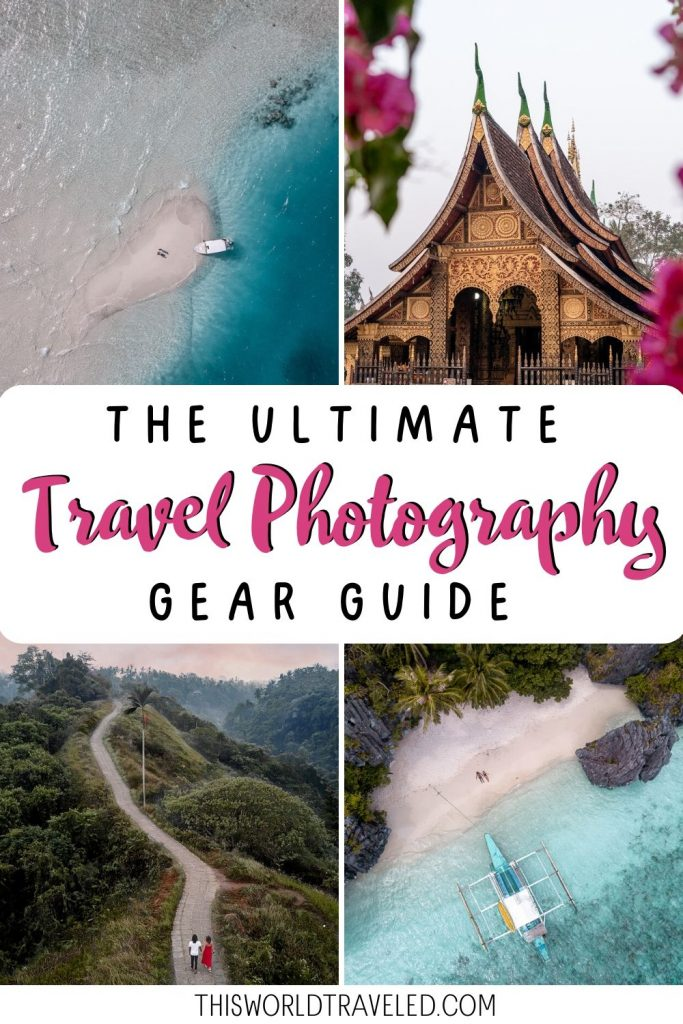 Pinterest board cover with photos from the Maldives, Laos, Bali and Philippines with text that says The Ultimate Travel Photography Gear Guide