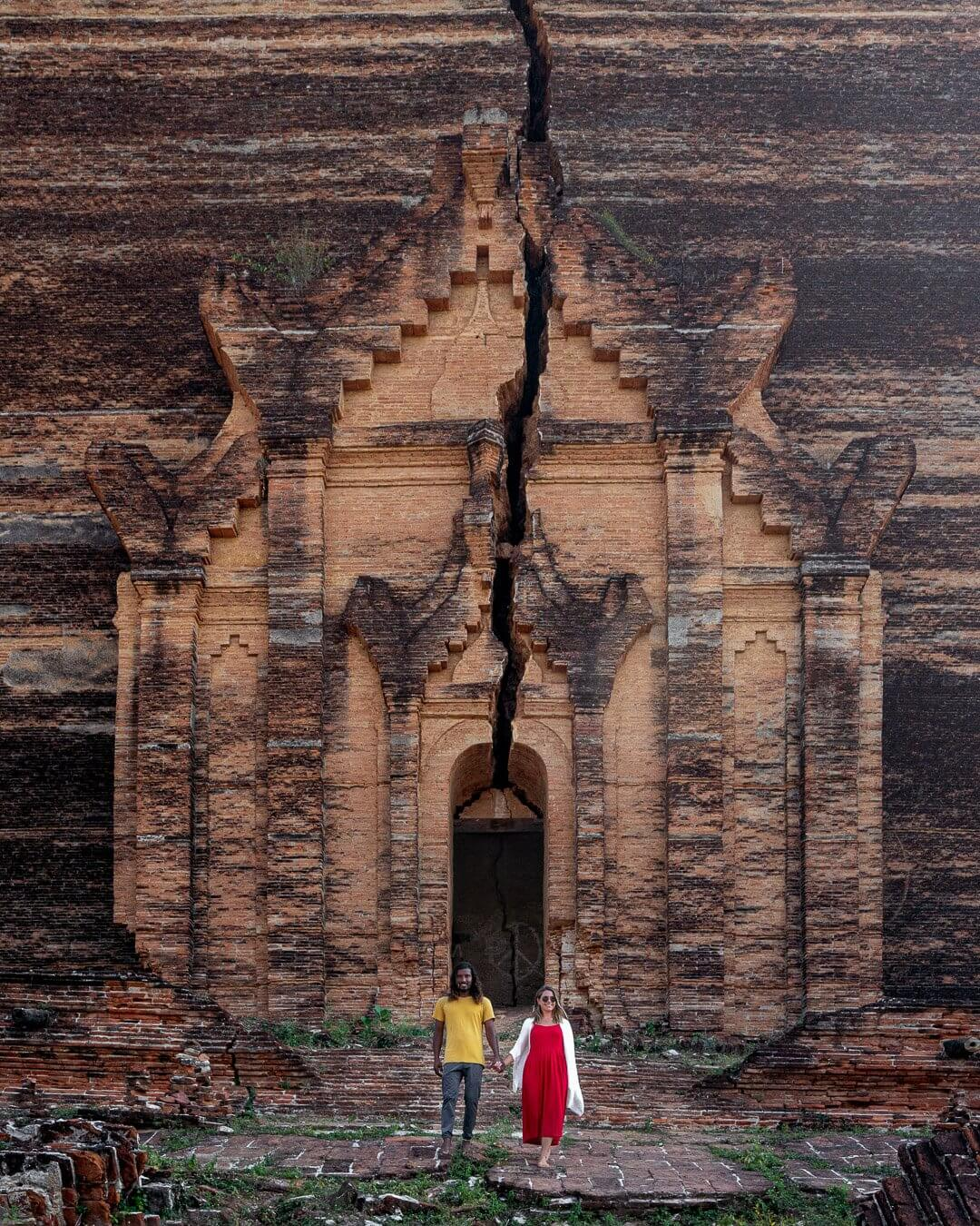 The Mingun Pagoda is a popular sight in Mingun near Mandalay in Myanmar. The pagoda is actually only 1/3 of its intended height and has a large crack from an earthquake.