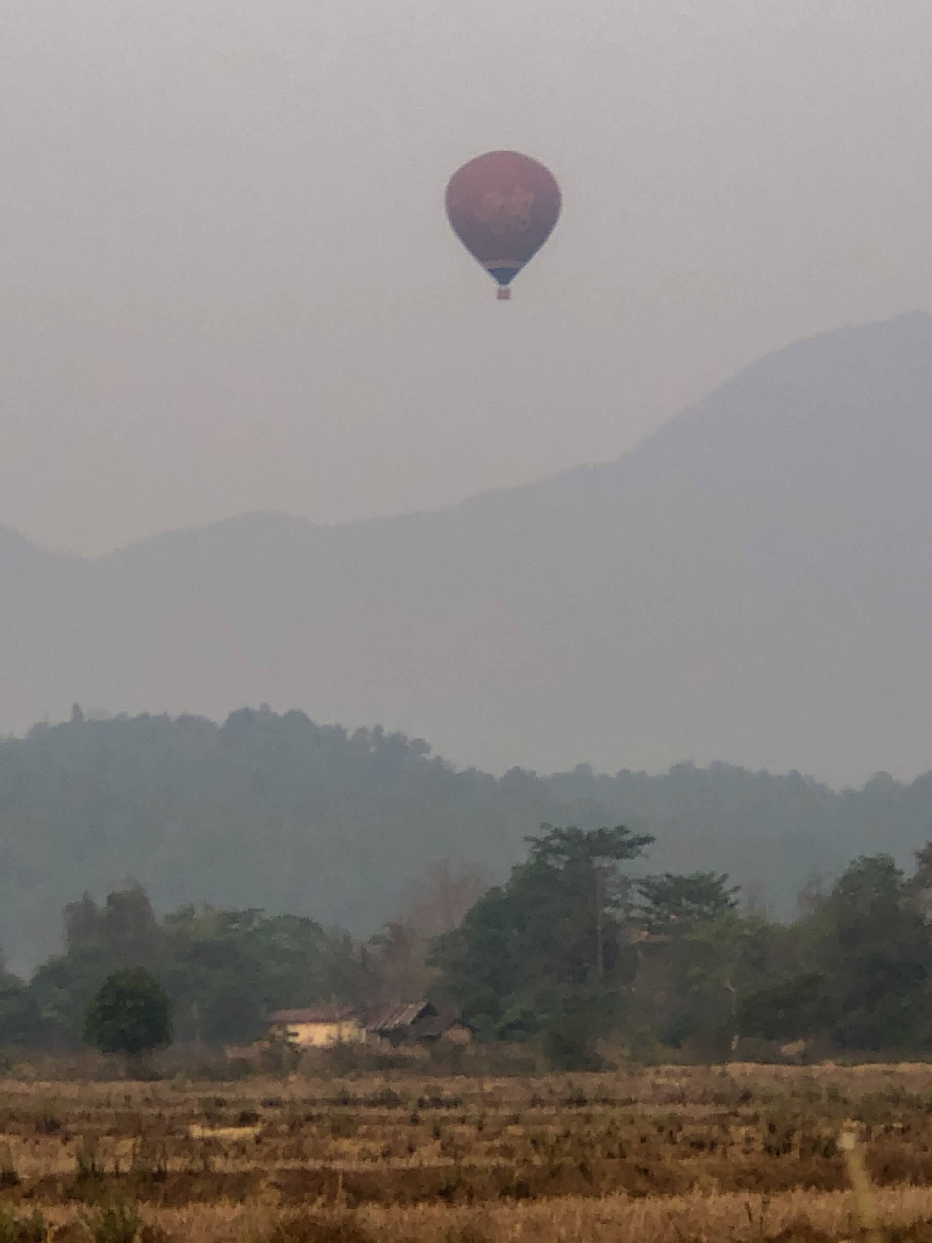 Hot air balloons over Vang vieng in laos