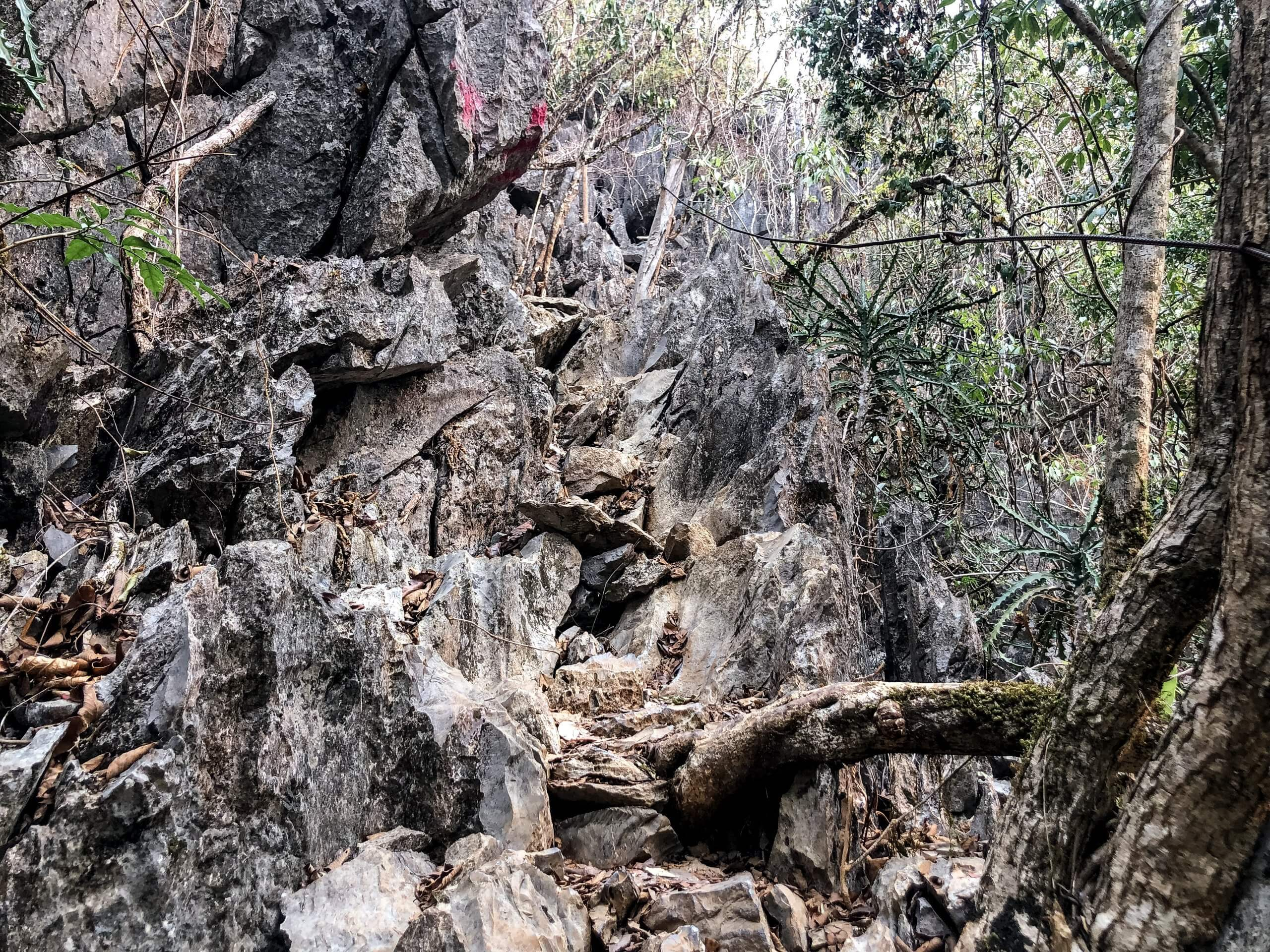 part of the trail leading to the viewpoint in Vang Vieng