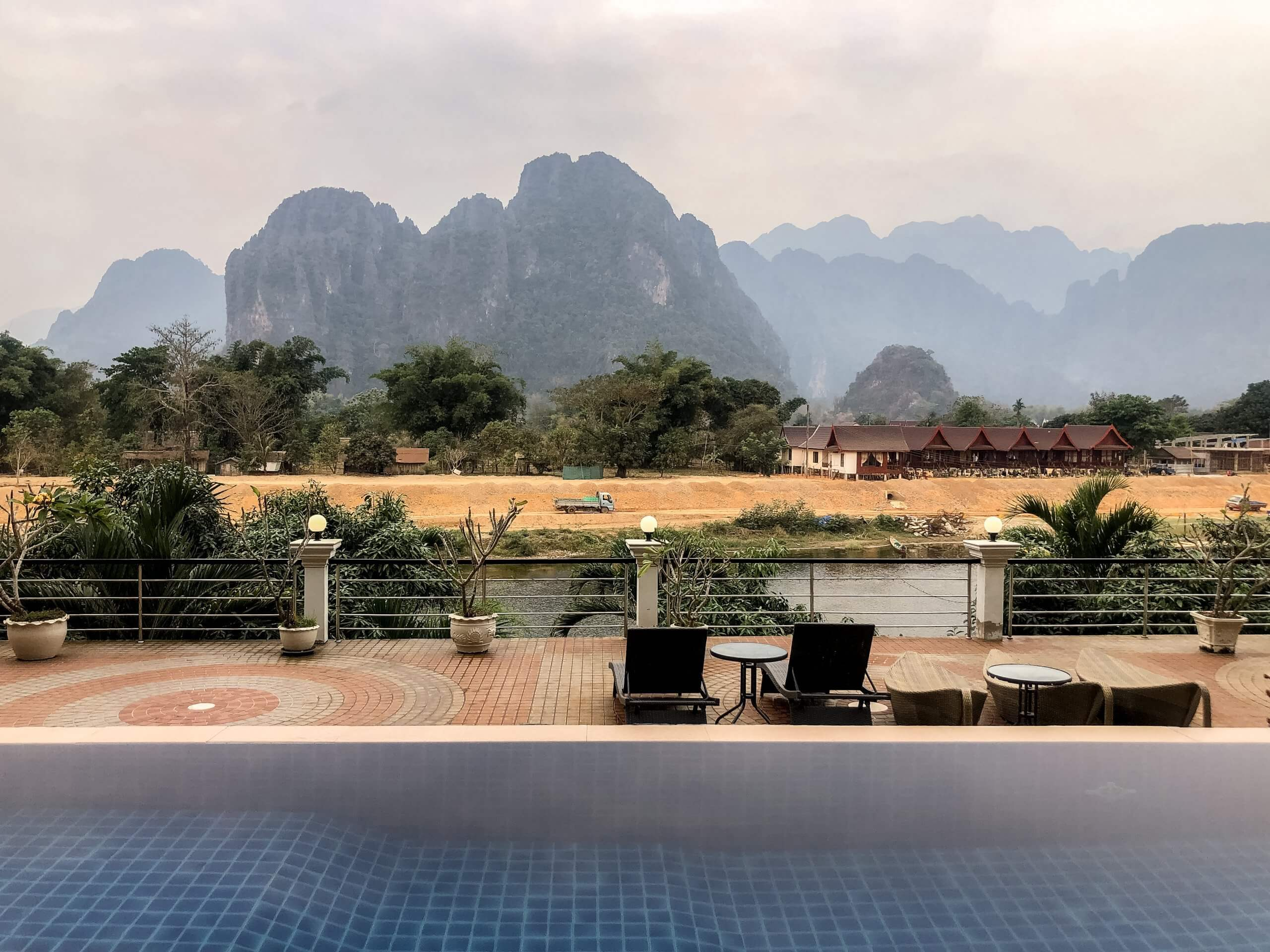 The pool at the Silver Naga Hotel in Vang Vieng