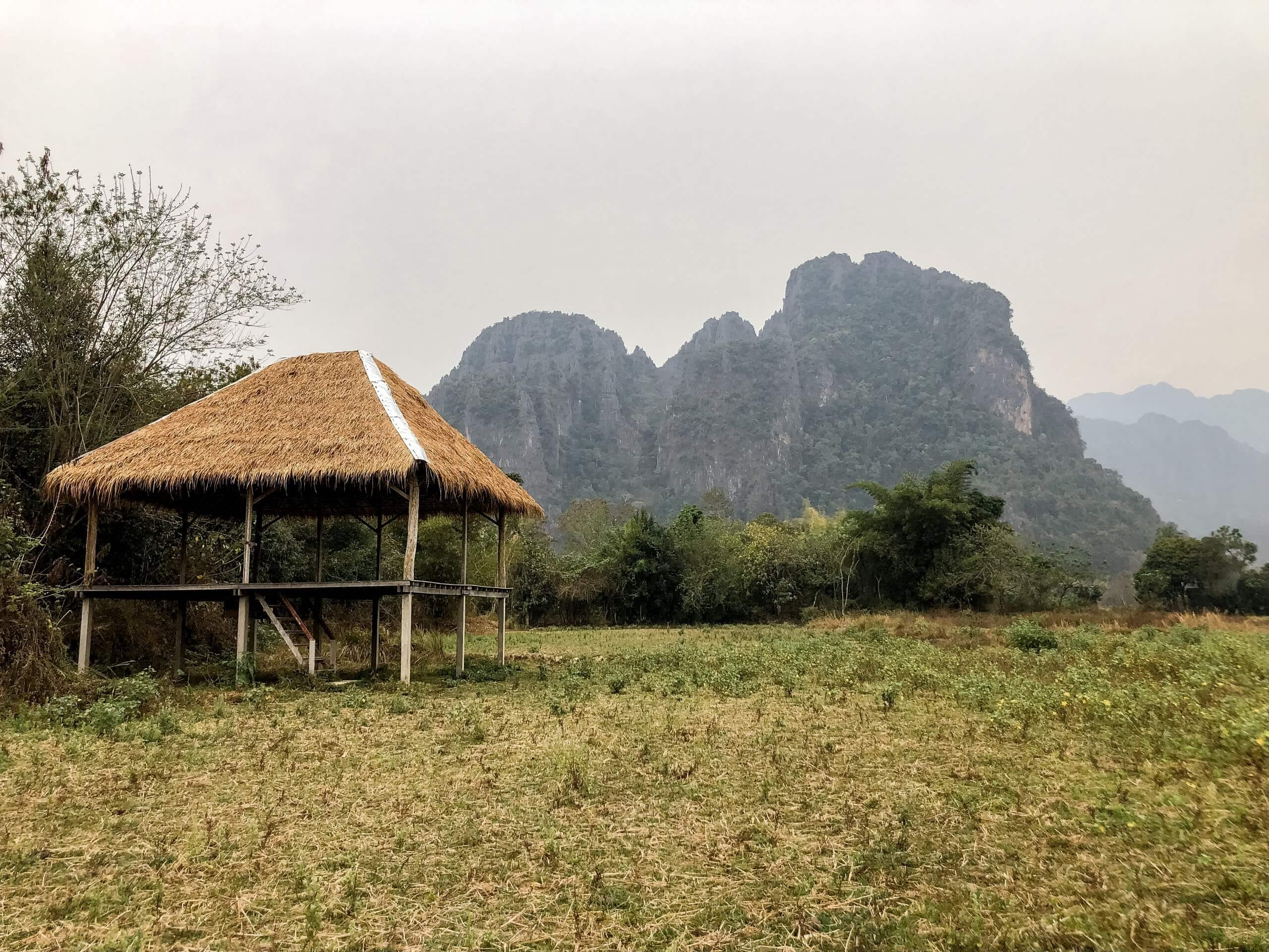 The outdoor yoga chalet in Vang Vieng, Laos