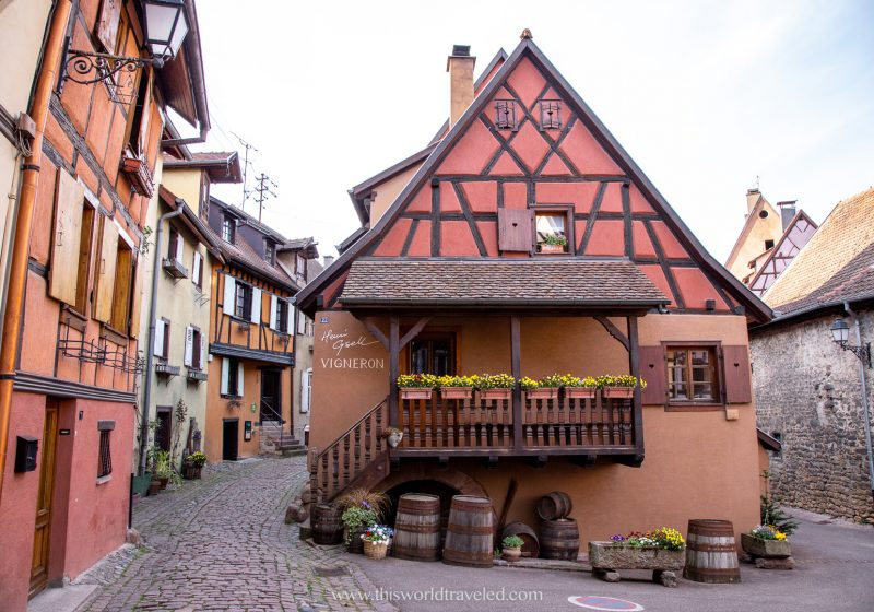 A red timbered house in the Alsace region of France is a perfect destination to add when planning a trip to Europe
