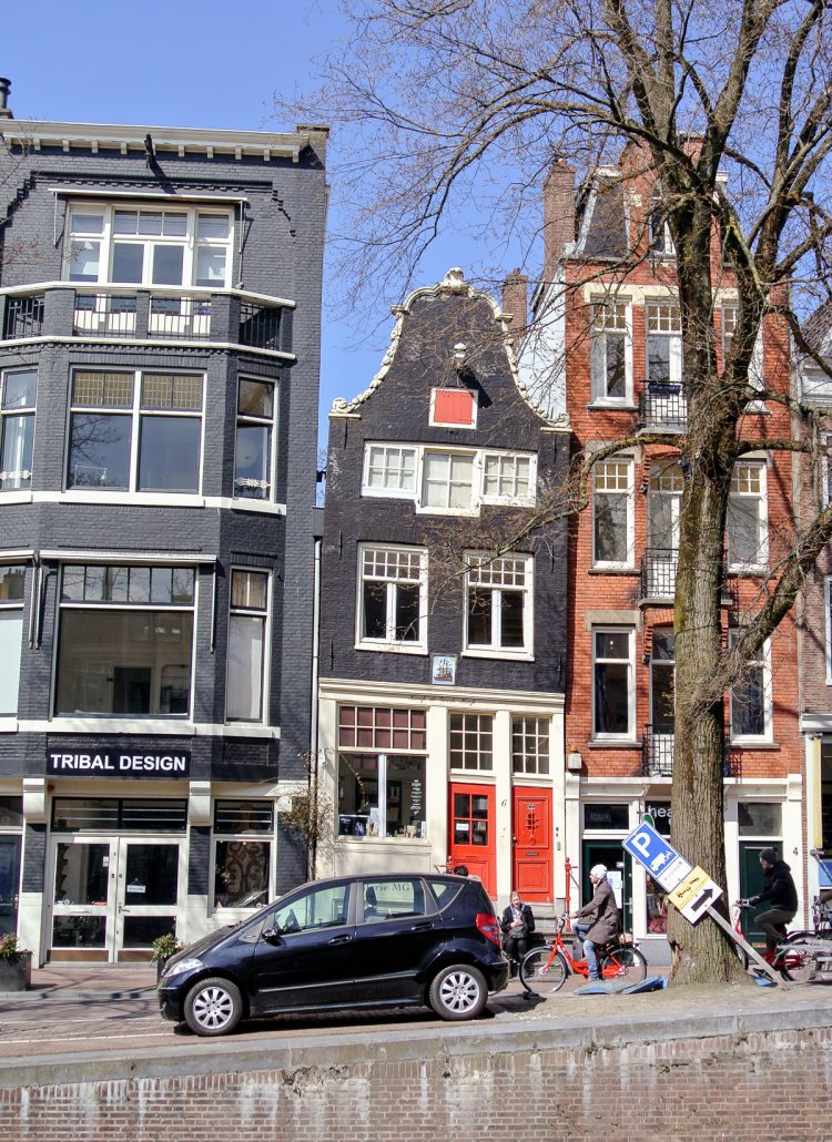 The leaning row houses in Amsterdam, Netherlands