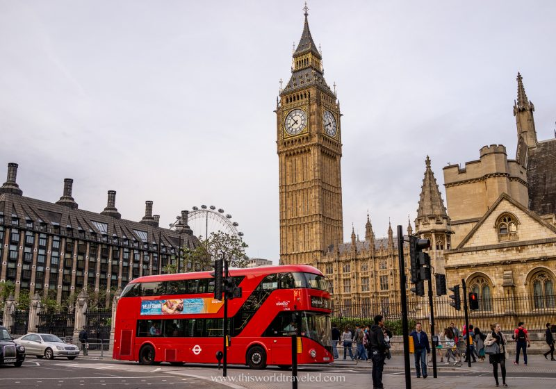 Big Ben, the London Eye and a double decker bus in London, England