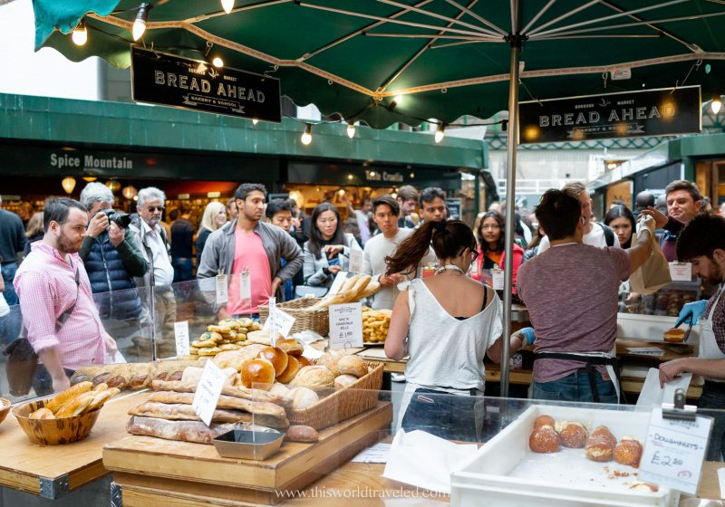 Baked goods and food being served at Borough Market in London, England