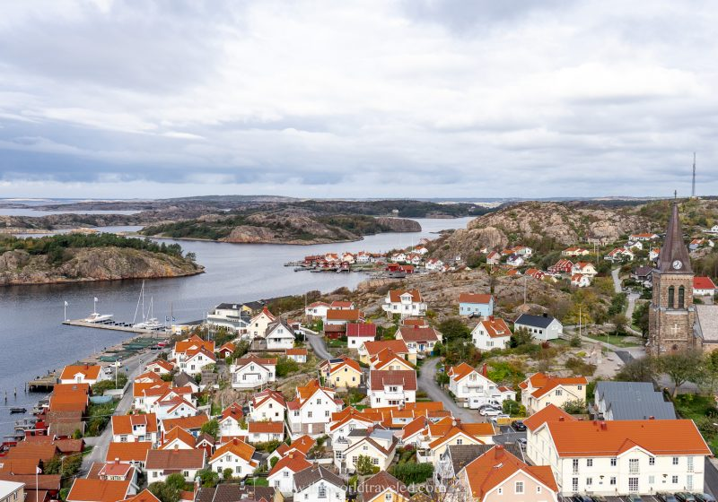 View of Fjällbacka in Sweden from the road leading into town.