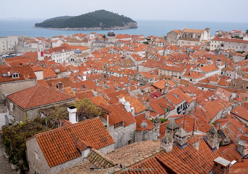 View of Dubrovnik as seen from the walls in Croatia