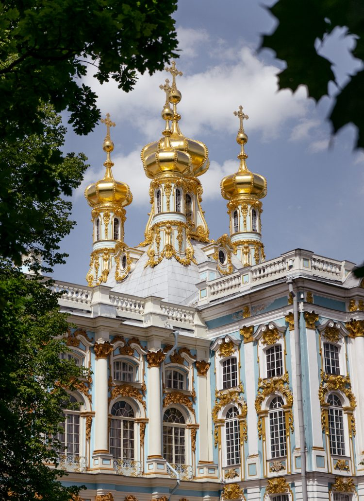 The gold topped spires on top of Catherine's Palace in St. Petersburg, Russia