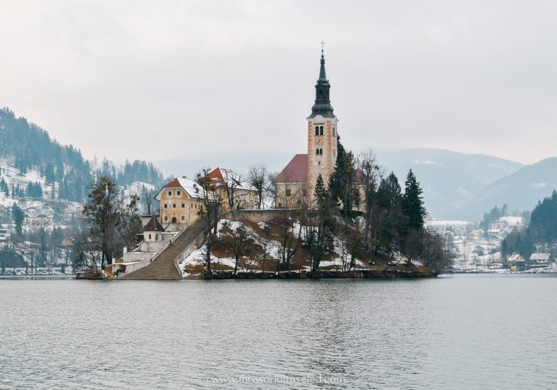 Lake Bled in Slovenia during the winter