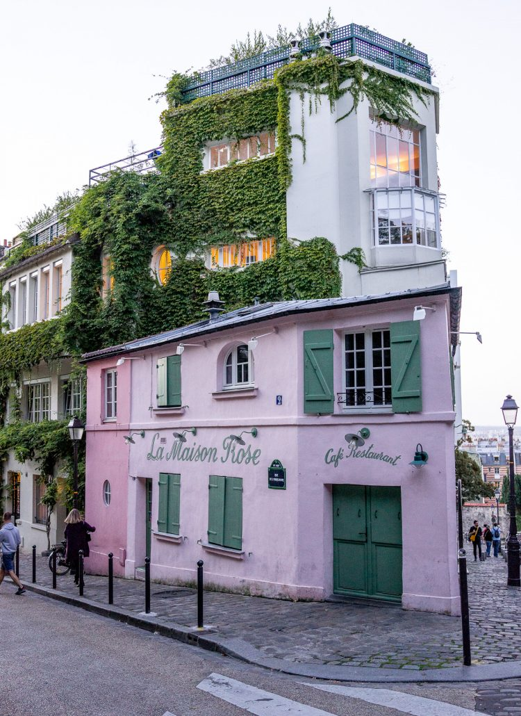 A pink cafe in the Montemarte neighborhood in Paris, France