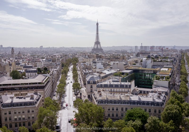 View of the Eiffel Tower from Montemarte in Paris, France