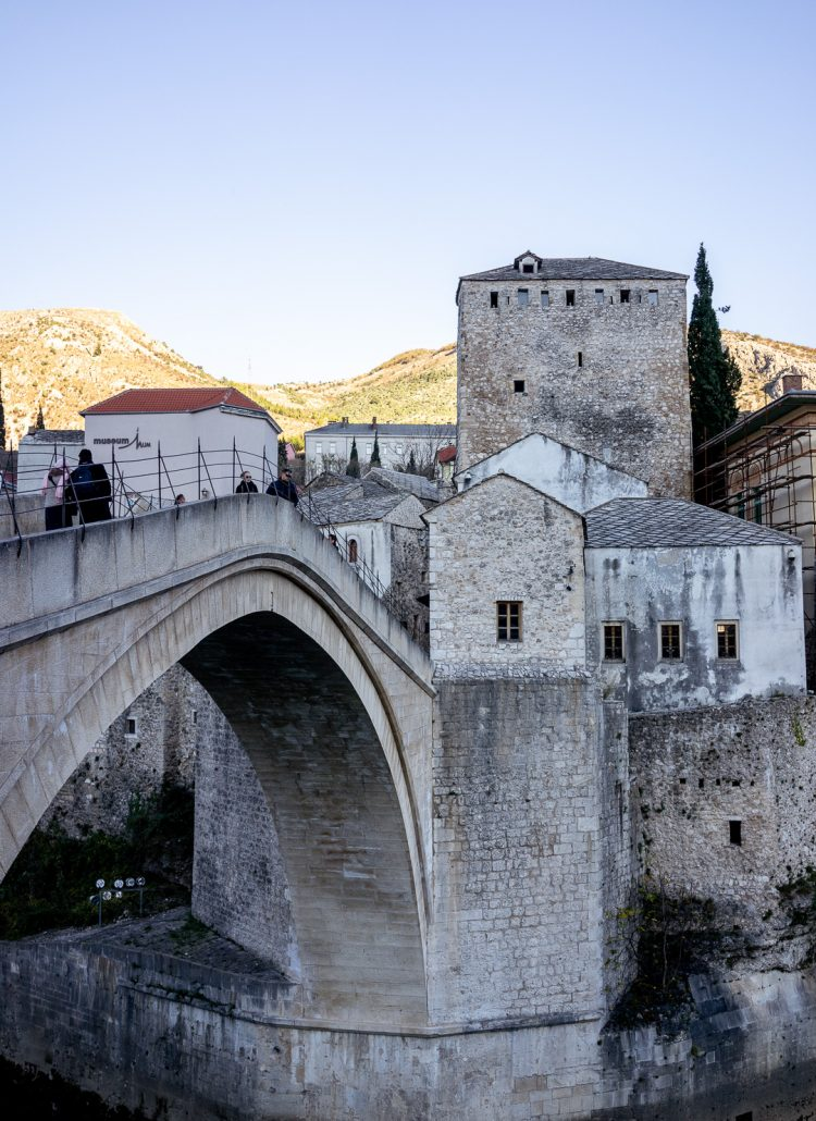The arched bridge in Mostar in Bosnia and Herzegovina