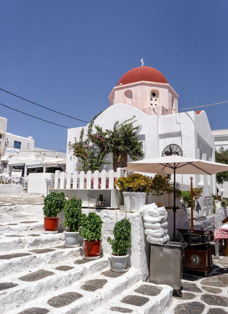 The red dome church in Mykonos, Greece