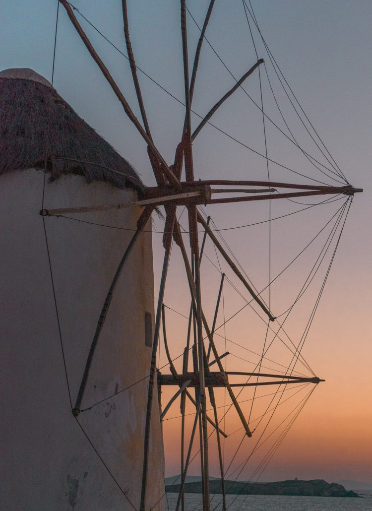 The windmills of Mykonos, Greece at sunset