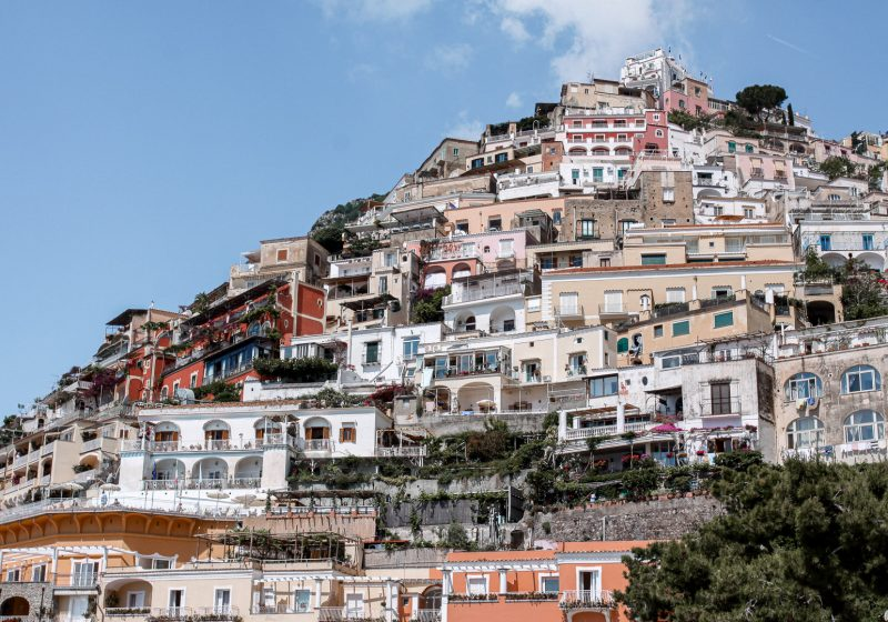 The colorful houses of Positano located along the Amalfi Coast in Italy