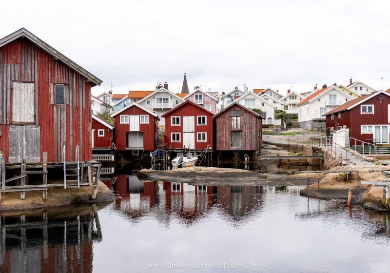 The red houses in the harbor at Smögen in Sweden