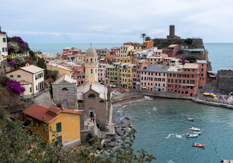 View of Vernazza from the hiking path in Cinque Terre along the Italian Riviera