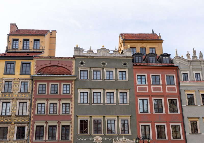 The colorful buildings in the Old Town Square of Warsaw, Poland