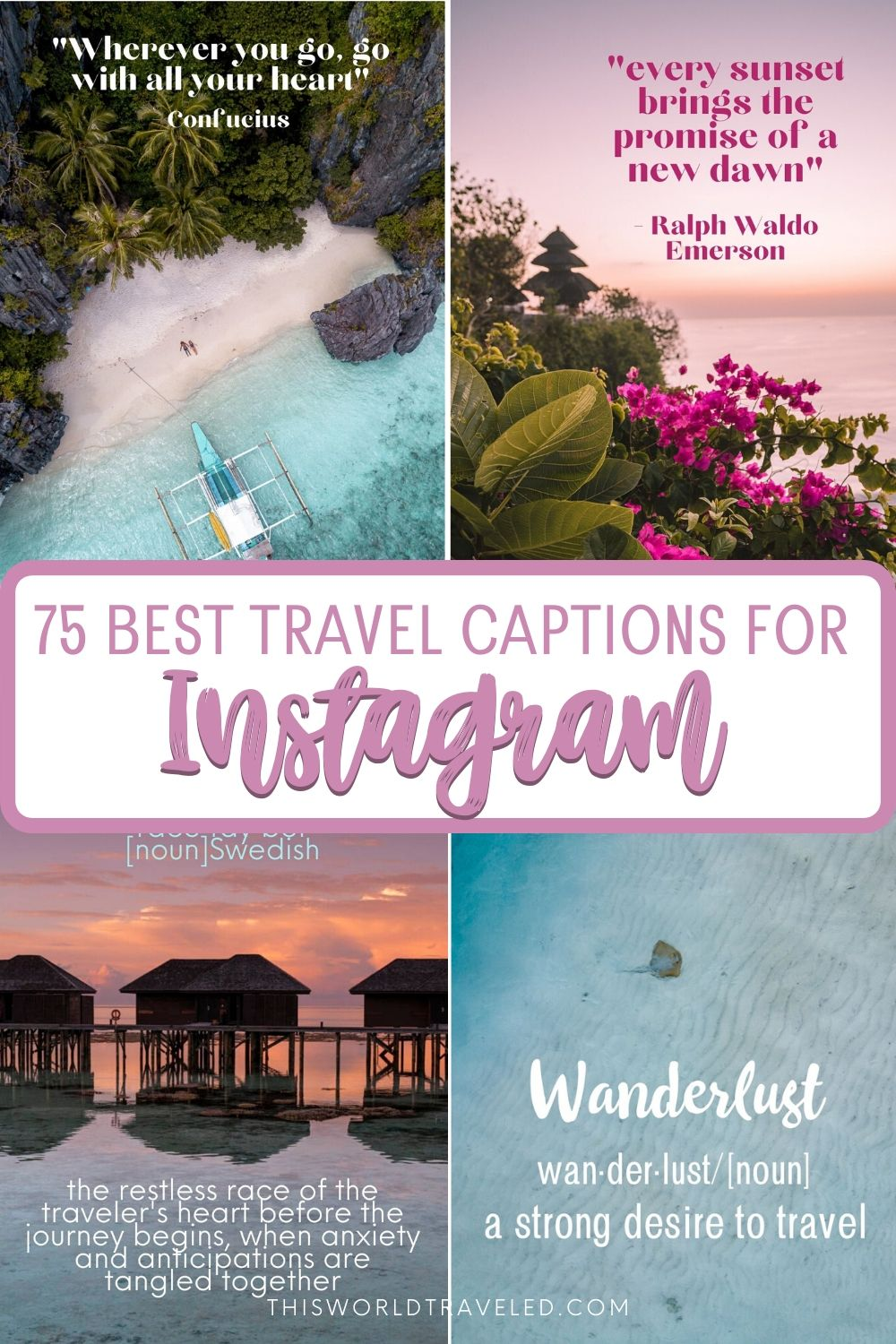 Pinterest board cover with pictures from Philippines, Maldives and Bali with text that says 75 best travel captions for Instagram