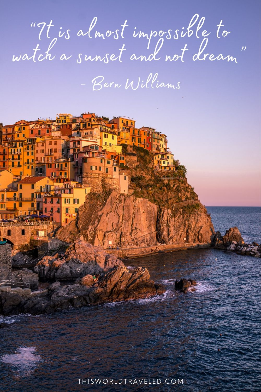 Picture of Cinque Terre with a travel caption for instagram