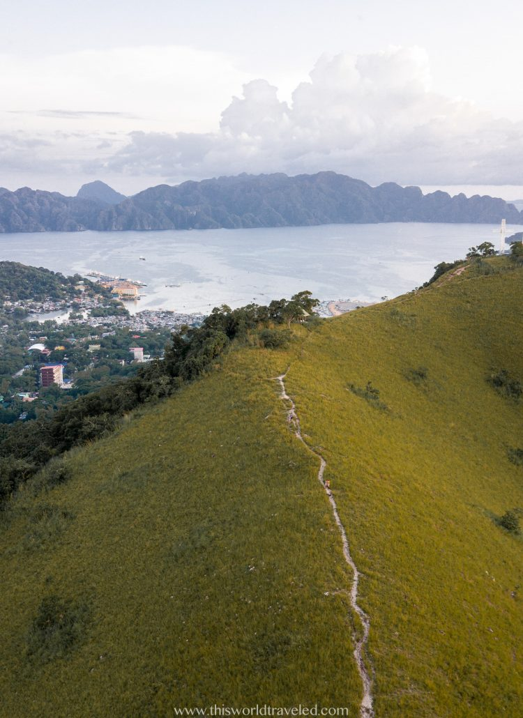 View of Coron Town from the top of Mt Tapyas from a drone
