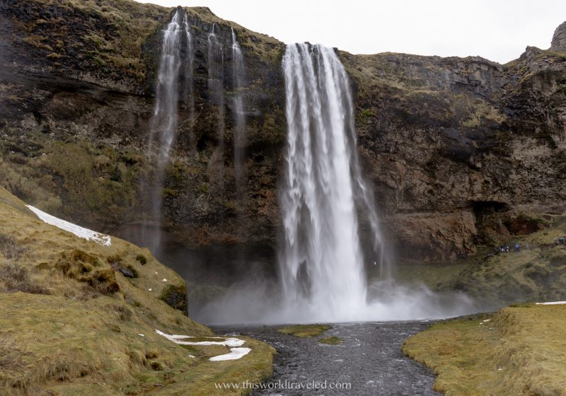 Seljalandsfoss waterfall can be found along Iceland's south coast