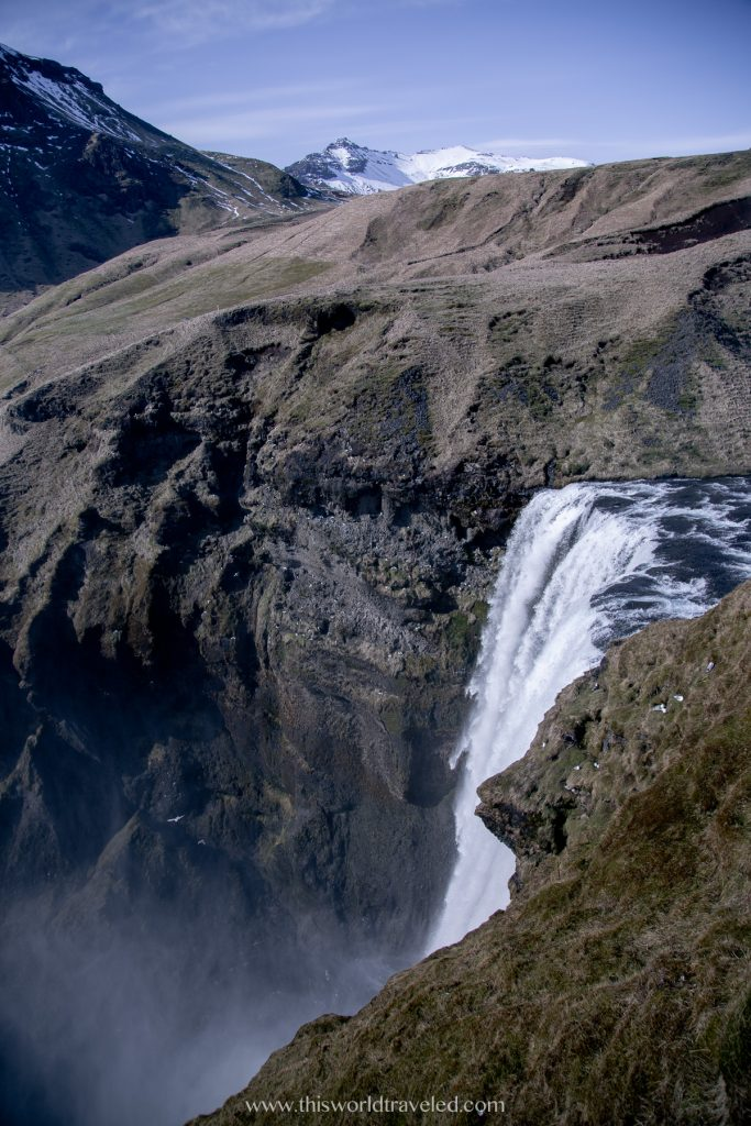 View of Skogafoss waterfall in south Iceland from the top of the stairs