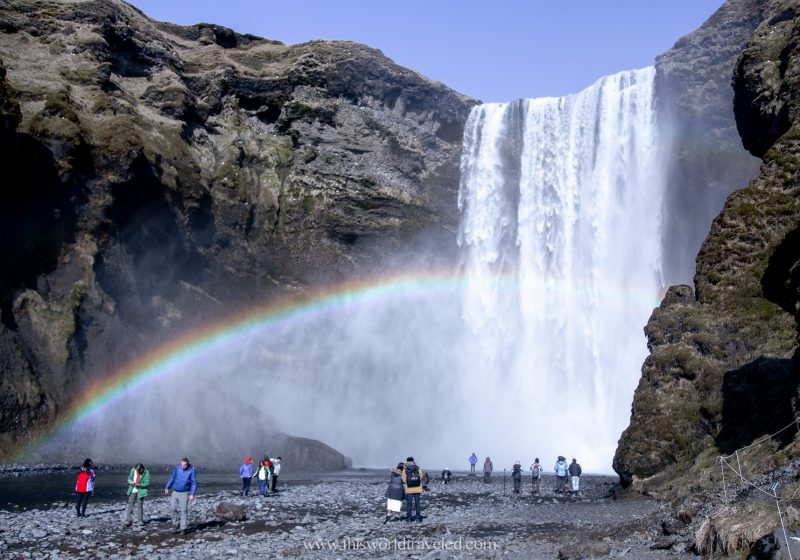 Skógafoss waterfall can be found along Iceland's south coast along the Ring Road