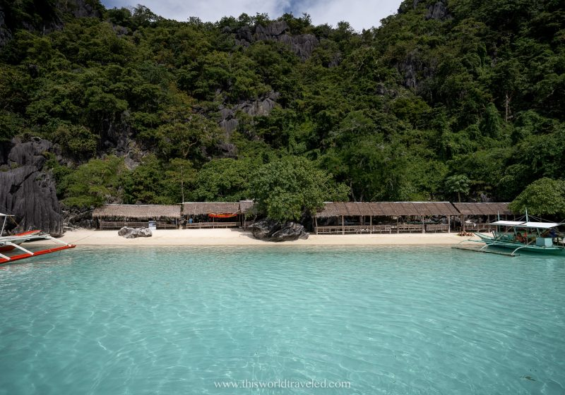 The beach huts are located along Banul Beach and is surrounded by limestone cliffs
