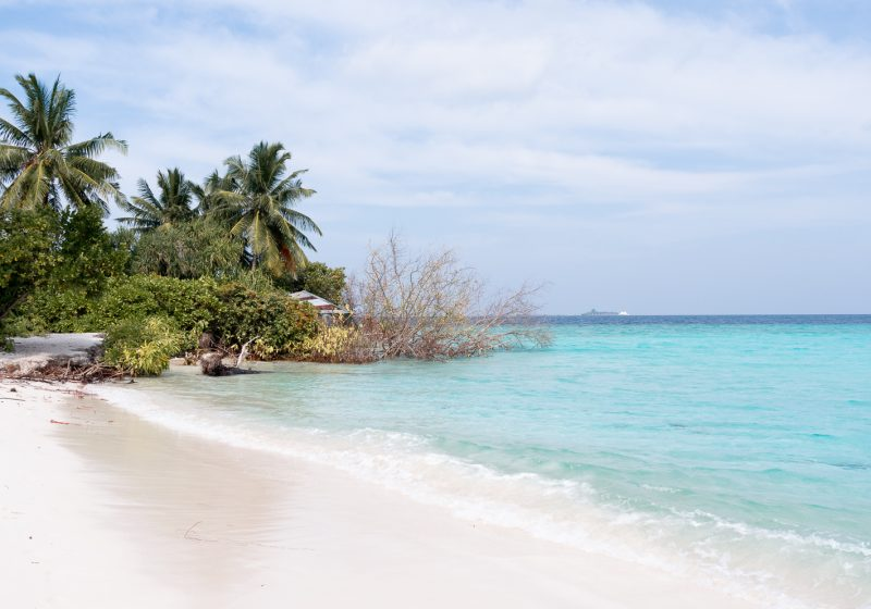 White, sandy beaches on an uninhabited island in the Maldives