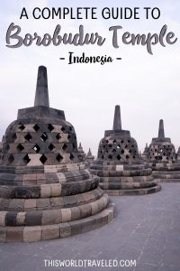 The stupas at the top level of the Borobudur Temple in Central Java, Indonesia