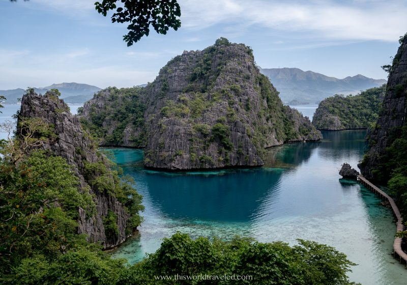 Viewpoint of Kayangan Lake from the top of the stairs in Coron, Palawan