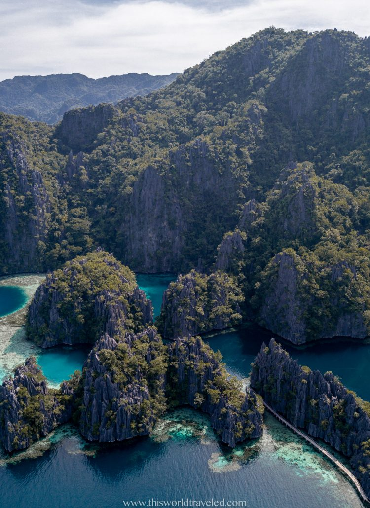 Drone shot of the limestone cliffs surrounding Coron Island in the Philippines